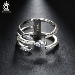 Concise Silver 3 Layers Platinum Plated Ring For Woman Cubic Zirconia Party Fashion Jewelry Hot Sale OR116