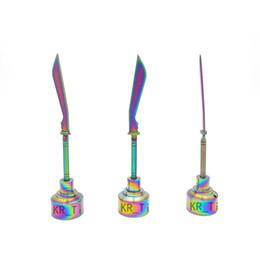 2016 newest Colorful Unique iridescent color Domeless Titanium nail titanium Carb Cap 14mm&18mm Dabber VS Ceramic Nails Quartz Nail
