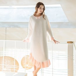 Wholesale Chinese Market Online Ms Winter Thick Warm Sleepwear New Sweet Princess Long sleeved Flannel Night Dress