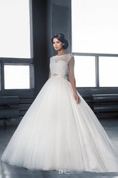 Backless Ball Gown Wedding Dresses 2016 Jewel Neck Floor Length Tulle Bridal Gowns Custom Made Sleeveless Cheap Wedding Gowns