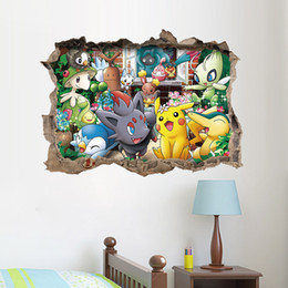 Wholesale Pikachu game Cartoon D Waterproof Poke Wall Stickers Wall Decal for Kids Rooms Home Decorations Pikachu Amination Poster Wall Art Wallpaper