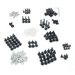 Wholesale Aluminium Fairing Bolt Kit Fastener Clips Screws Hardware For Honda Suzuki Kawasaki Yamaha Motorcycle Fairings Black Silver Bolt Complete