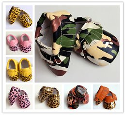 Wholesale Fashion spring Fall baby shoes camo Leopard moccasins tassels infants soft PU leather first walker boy girl shoes European USA popular