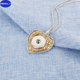 Wholesale REALLY Hot Sale White Gold And Antique Copper Plated Noosa Love Heart With MM Snap Button Necklace DIY Jewelry