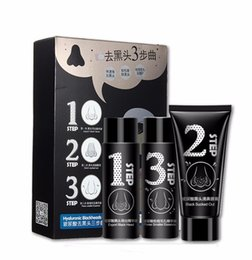 Wholesale Face Nose Blackheads Pores Acne Removal Activated Carbon Steps Mask Set Export Black Head Black Sucked Out Smaller Essence