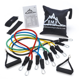 Wholesale Black Mountain Products Resistance Band Set with Door Anchor Ankle Strap Exercise Chart and Resistance Band Carrying Case