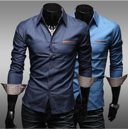 Men casual shirt 2016 Fashion Fight skin pocket mens shirt high quality Long Sleeve Shirts Summer new denim shirts
