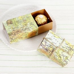 Wholesale 500pcs New quot Around the World quot Map Favor Sweet Box For Traveling Theme Party Baby Show Candy Gift Box ZA0968