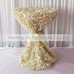 1PCS 3D Ruffled Cream Leaf Shape Taffeta Table Cloth 132'' Round For 80CM Cocktail Cover Decoration