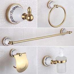 Wholesale Golden Bathroom Accessories Sets Luxury Paper Holder Soap Dispenser Towel Bar Ring Rail Cost Hook Blue and White porcelain