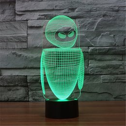 Animation de la lumière de nuit en Ligne-Acrylique Coloré USB Ménage Chambre Bureau LED Lampe De Table Animation Enfant 3D Pour Robot Night Lights Cadeau De Noël -143