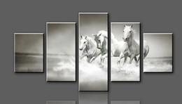 Framed art High-quality Modern Printed On Canvas Horse print painting wall art living room decoration 5pcs set