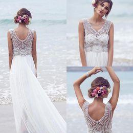 Wholesale 2016 Boho Sexy Chiffon A line Beach Bead Crystal Wedding Dresses White Floor Length Cheap Anna Campbell Long Bridal Gown BO9139