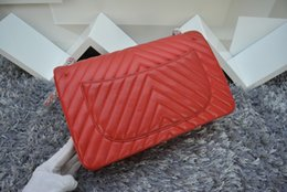 Wholesale 1113 V Shaped Lambskin New Arrival Fashion Lambskin Black Chain Red Inside Double Flaps Bag Women s Genuine Leather Shoulder Bag