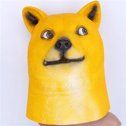 Wholesale Halloween Mask Masquerade for Adult Akita Yellow Dog Mask Latex Party Cosplay Miaotuotuo Face Masquerades Fancy Animal Masks Cosplay Costume