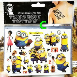 Wholesale 2016 Minions Buddy Family Child Favourites Temporary Body Art Flash Tattoo Sticker cm Waterproof Tatoo Car Styling Wall Sticker
