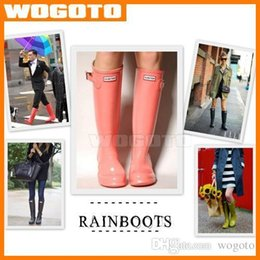 Wholesale 2016 Hunter Boots Women Men Wellies Rainboots Ms Glossy Hunter Wellington Rain Boots Wellington Knee Boots