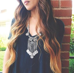 Wholesale Cheap fashion quality exaggerated coin tassel statement necklace colors hot sale