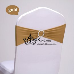 Wholesale GOLD Lycra Spandex Chair Band With Diamond Buckle Used For Wedding Spandex Chair Cover