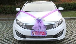 Wedding Car Flower Design Decoration Kit Wedding Car Decoration Kit Large Bows Rose Korean artificial flower Wedding Car Decoration Kit