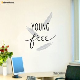 Wholesale DIY YOUNG AND FREE English Word Letter Wall Stickers For Living Room Art Murals Wallpaper Bedroom Home Decor