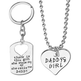 2016 Fashion Silver Heart Necklace Mommy Daddy 's Girl Necklace +keychain kye ring set Pendant Link Chains Sweater Chain necklace