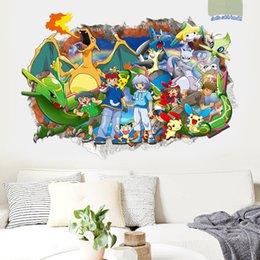 Wholesale New Poke Pocket Wizard Pikachu Cartoon Wall Sticker Kids Children s Room Bedroom Background Home Decor Wall Stickers Poster