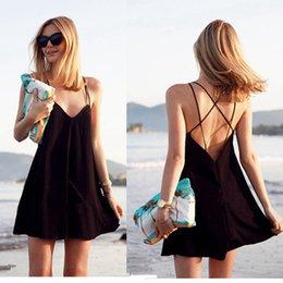 2016 New Summer Casual Women Dresses Sexy Deep V Backless Beach Dresses Black Knitted Vest Dress