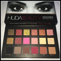 Wholesale New Release huda beauty textured shadows palatte18 colors Shimmer Matte Rose Gold Eyeshadow Palette Pro Eyes Makeup Cosmetics