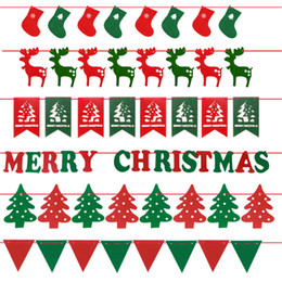 Wholesale Christmas Decoration Christmas Socks Elk Tree Letters Pennant Cloth Flag Banner Triangle Flag Banner Flags Banners Garlan