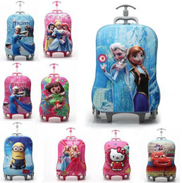 Wholesale Frozen Bags Wheels D Trolley School Bags for Girls Boys Anna Kids Cartoon Wheeled Backpack Children Rolling Luggage Gift Bags