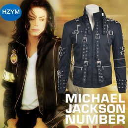 Wholesale MLYX Men s Michael Jackson Bad Cosplay Costume Men s Black Jacket Coat
