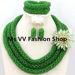 wholesale african jewelry latest design green crystal beads fit for nigerian wedding party bridal aso ebi lace dress headtie