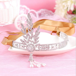 2016 The Great Gatsby Rhinestone Pearl Hair Accessories Bridal Tassel Tiara Crown Wedding Jewelry Pageant Crowns Tiaras