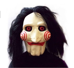 Wholesale Saw Movie Jigsaw Puppet Mask Halloween Full Mask Head Latex Creepy Scary SMT8894