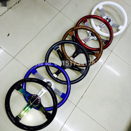 Wholesale universal mm inch black blue red classic ABS car sport steering wheel with white silver gold spokes