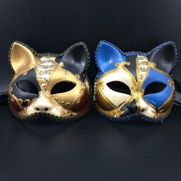 Luxury Sexy Cat Mask Lace Venetian Masquerade Party Mask Half Face Carnival Mardi Gras Halloween Mask Gold Blue Color free shipping