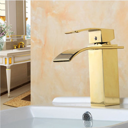 Bath Faucet Deck Mounted Faucet Heat and Cold Water Mixer Waterfall Lavatory Bathroom Faucet with Brass body and Single Handle