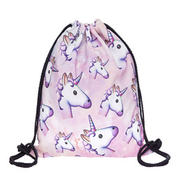 Wholesale D Printing With Emoji Unicorn Pattern Women High Quality Backpacks Drawstring Bag Outdoor Backpack SKD90