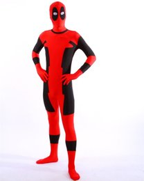 1pcs moda HALLOWEEN Cosplay marvel red spandex full body suits Deadpool Costume adult for party shows