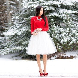 Wholesale Knee Length Yellow Skirts - 2016 Cheap Short Tulle Skirts Custom Made White Ivory Knee Length Pleated Plus Size Maxi Skirts For Women Summer Tutu Skirt Vestidos