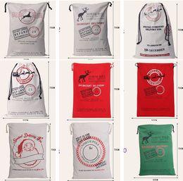 Wholesale Gift Bag Christmas cm styles Red drawstring Canvas Santa Sack Rustic Vintage Christmas stocking bagsDecoration b324