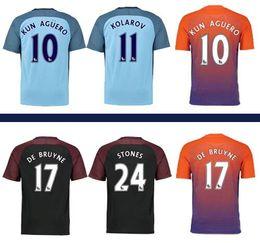 Wholesale soccer uniform kit soccer jerseys manchester city jersey KUN AGUERO DE BRUYNE SANE SILVA TOURE YAYA thai quality soccer jersey thailand