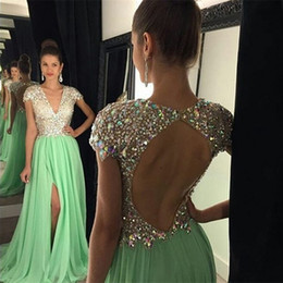 Sparkly Mint Green Prom Dresses Long With V-Neck Cap Sleeves Rhinestones Beaded Split Keyhole Backless Draped Chiffon Formal Evening Gowns