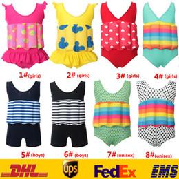 Wholesale New Baby Boys Girls Bath Float One Piece Swimsuit Bikinis Kids Child Toddler Stripe Dot Swimwear Costume Removable SPA Beach Swimsuit LN S12