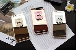 Anillo de metal espejo en Línea-Espejo de lujo titular del anillo de dedo suave cubierta de la caja de TPU para el iPhone 6 6s más, 7 7 Plus