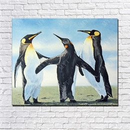 Wholesale Hand Made Three Penguin Oil Painting On Canvas Animal Oil Painting Modern Canvas Wall Art Sitting Room Decor Picture