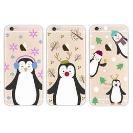 Wholesale Cartoon penguin family series Picture For Phone S Case Thin TPU Case Full Oil Painting Effect Phone Cases With Retail Package FK C05