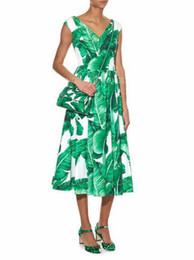 Wholesale New Design Banana Leaf Print Dress V neck Sleeveless Midi Dresses Gown
