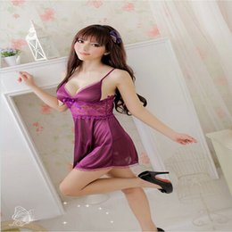 Wholesale-Fashion Sexy Night Miniskirt Lingerie VS Night Skirt Nightie Sleep Lounge Satin Lace Sleepwear For Women Nightgown